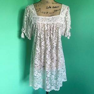 Ann Taylor LOFT Sheer Lace Tunic Top Blouse White